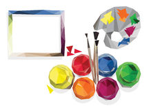 Paint with brushes and palette. Abstraction in the form of Low-Poly, blank cards Stock Image