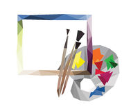 Paint with brushes and palette. Abstraction in the form of Low-Poly, blank cards Stock Photo