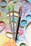 Paint Brushes at Palette Royalty Free Stock Image