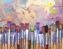 Paint Brushes On Palette Stock Image
