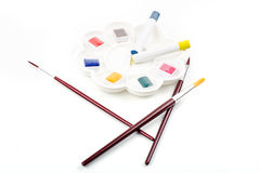 Paint brushes and pallet Royalty Free Stock Photos