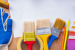 Paint brushes pantone fan duct tape pencils Royalty Free Stock Photos