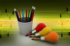 Paint brushes and pencil bulb, new business idea concept. In color background Stock Images
