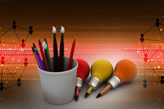 Paint brushes and pencil bulb, new business idea concept. In color background Royalty Free Stock Photography