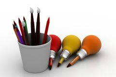 Paint brushes and pencil bulb, new business idea concept. In white background Stock Photography
