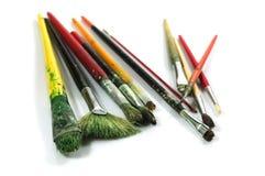 Paint brushes. Photo of used paint brushes Stock Photo