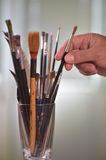 Paint brushes in the pot Stock Photos