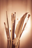 Paint brushes in the pot Royalty Free Stock Images