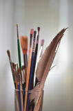 Paint brushes in the pot. All kinds of brushes Stock Photography