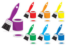 Paint and brushes in rainbow colours. Open cans of paint and paintbrushes in the colours of the rainbow or spectrum on a white backgroud for your decoration Royalty Free Stock Photography
