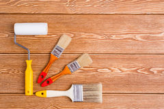 Paint brushes and roller Royalty Free Stock Photos