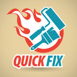 Paint brushes and rollers, fireball. Construction and repair. Vector illustration Stock Images