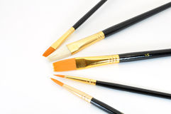 Paint brushes in semicircle. Paint brushes with bristles together in a semi circle isolated on white Royalty Free Stock Image