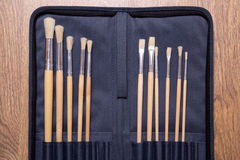 Paint brushes set in black bag Royalty Free Stock Photography