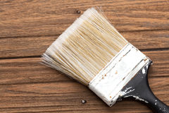 Paint brushes tool equipment background wood teak still life Stock Photography