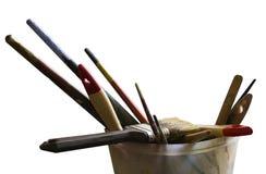 Paint brushes on transparent background Stock Photos