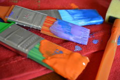 Paint Brushes. These are paint brushes we used in a fun craft Royalty Free Stock Photo