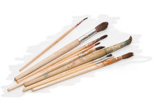 Paint brushes. Paint brushes of varying stiffness and thickness Royalty Free Stock Images