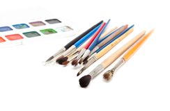 Paint brushes and watercolor. Stock Photography