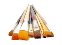Paint brushes on a white background. Royalty Free Stock Photos