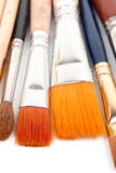 Paint brushes on a white background. Royalty Free Stock Photo