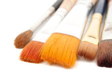Paint brushes on a white background. Stock Photo