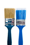 Paint brushes on a white background. Blue Paint brush on a white background Stock Photos