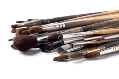 Paint brushes on white background Stock Photos