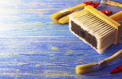 Paint brushes on before work Stock Photography