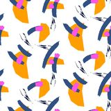 Paint brushstrokes on white chaotic ornament seamless pattern. Orange and blue artistic colors Royalty Free Stock Image