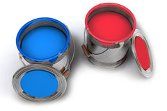 Paint in bucket. Overview top view with a blue and red bucket Royalty Free Stock Photo