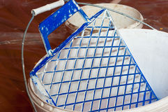 Paint bucket. With painting accessorie stock photo