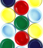 Paint bucket. A pattern of colorful round paint bucket royalty free stock photo