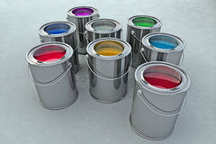 Paint bucket. Illustration in 3d Royalty Free Stock Photo