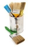 Paint Bucket And Paintbrush On White Stock Image