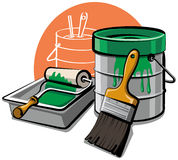 Paint bucket and brush Stock Photo
