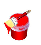 Paint bucket and brush Stock Photos