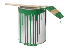 Paint bucket with brush Royalty Free Stock Images