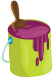 Paint bucket with brush Stock Photo