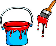 Paint Bucket And Brush. Vector illustration of paint bucket and brush Royalty Free Stock Photography