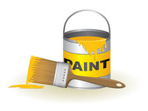 Paint bucket and brush Stock Photography