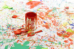 Paint bucket and brush Royalty Free Stock Image