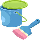 Paint bucket with brush sketch cartoon  illu Stock Images