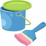 Paint bucket with brush sketch cartoon  illu Stock Images