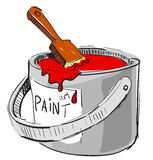 Paint bucket with brush Royalty Free Stock Photos
