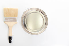 Paint bucket with brush. View from top  on white Stock Photo