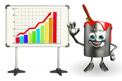 Paint Bucket Character with display board Stock Image