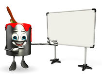 Paint Bucket Character with display board Royalty Free Stock Photography
