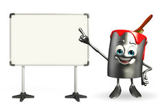 Paint Bucket Character with display board Royalty Free Stock Images