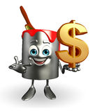 Paint Bucket Character with dollar sign Royalty Free Stock Photos